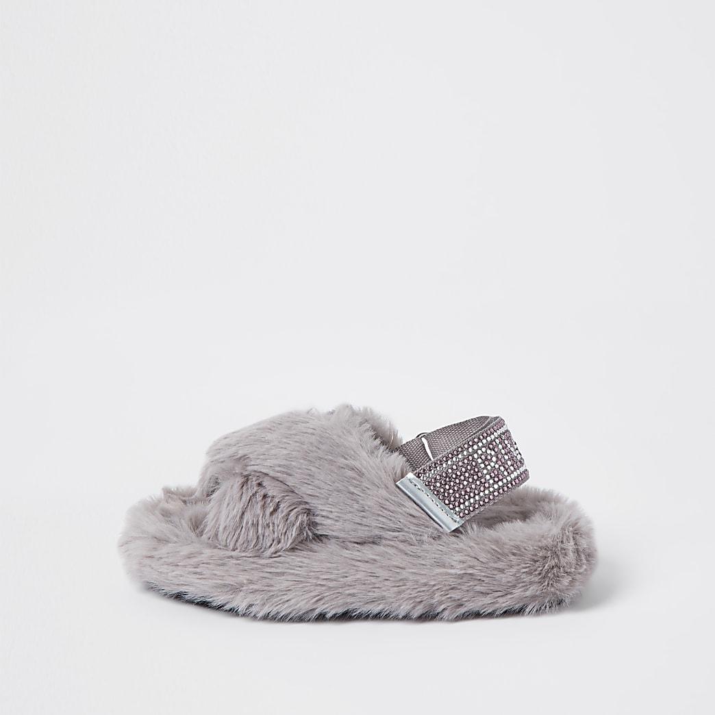 Mini girls grey crossover diamante slippers
