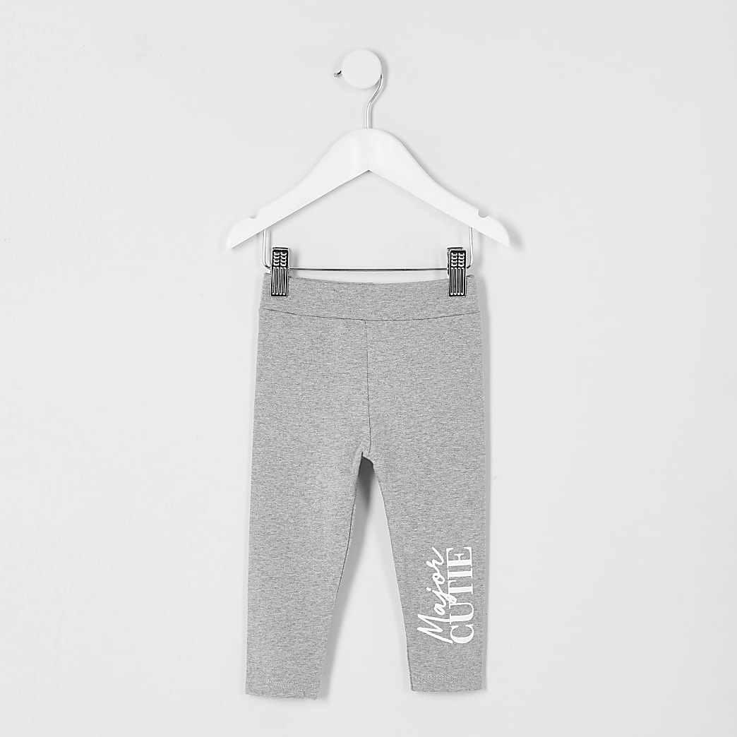 Mini girls grey 'cutie' leggings