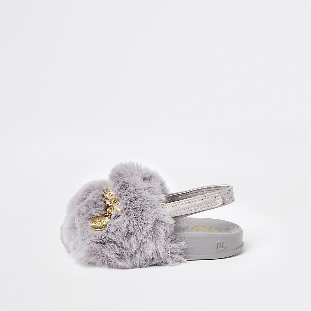 Mini girls grey faux fur chain fur sliders