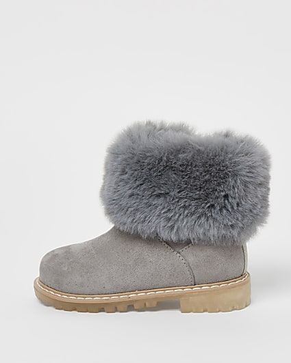Mini girls grey faux fur collar ankle boots