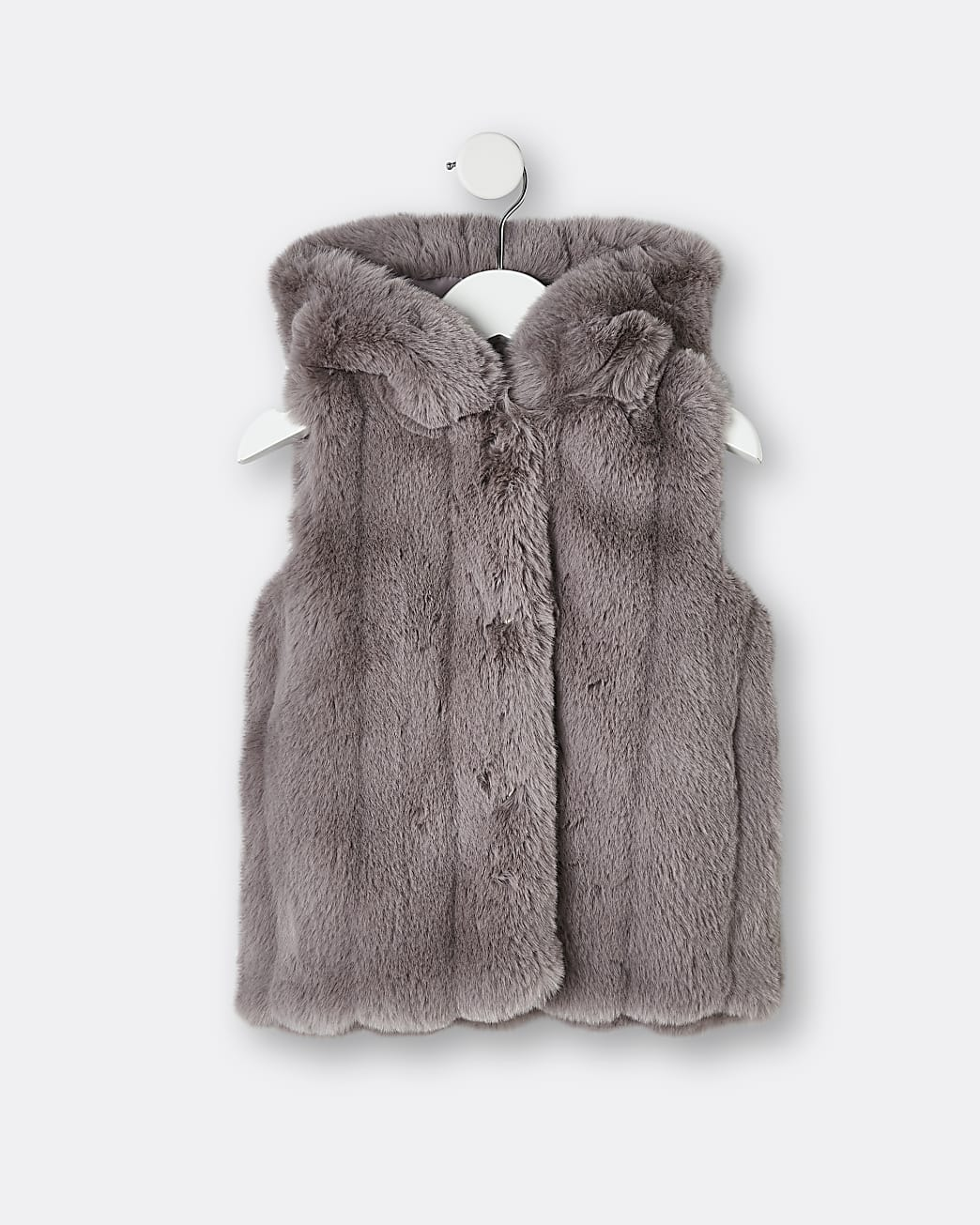 Mini girls grey faux fur hooded gilet