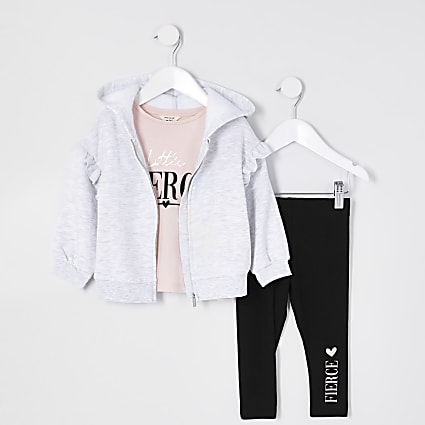 Mini girls grey 'Fierce' 3 piece outfit