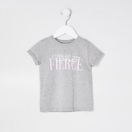 Mini girls grey 'Fierce' t-shirt