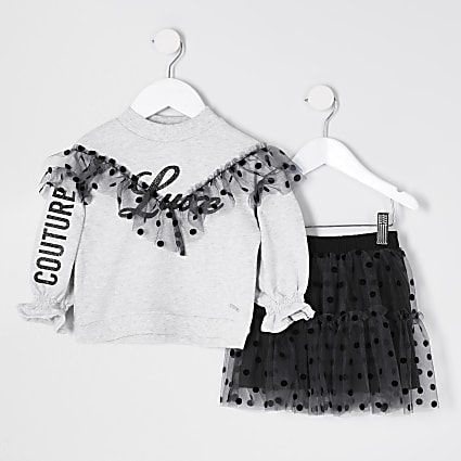 Mini girls grey frill sweat tutu outfit