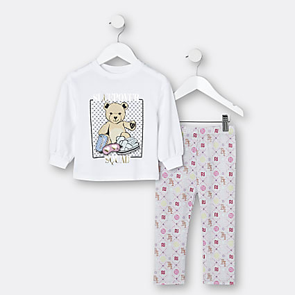 Mini girls grey graphic print pyjama set