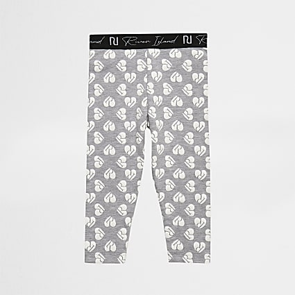 Mini girls grey heart print leggings