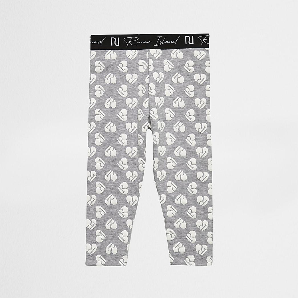 Mini girls grey heart print leggings