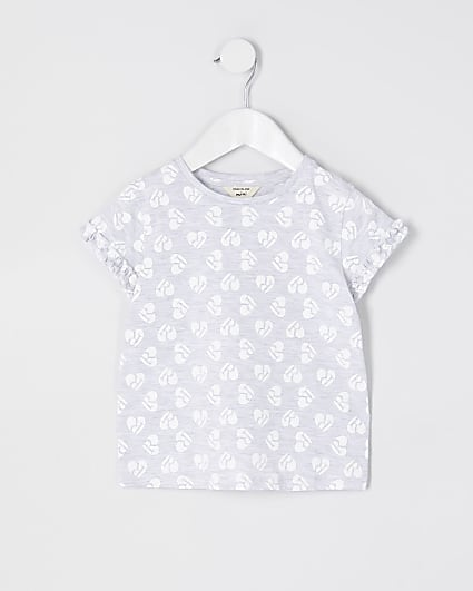 Mini girls grey heart print ruffle t-shirt