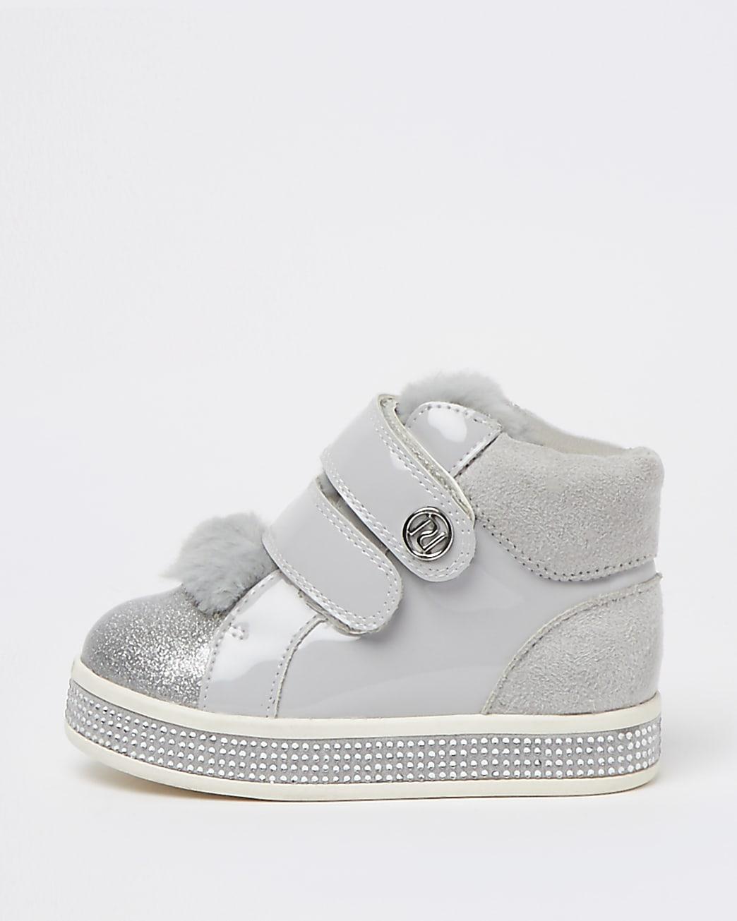 Mini girls grey high top faux fur trainers