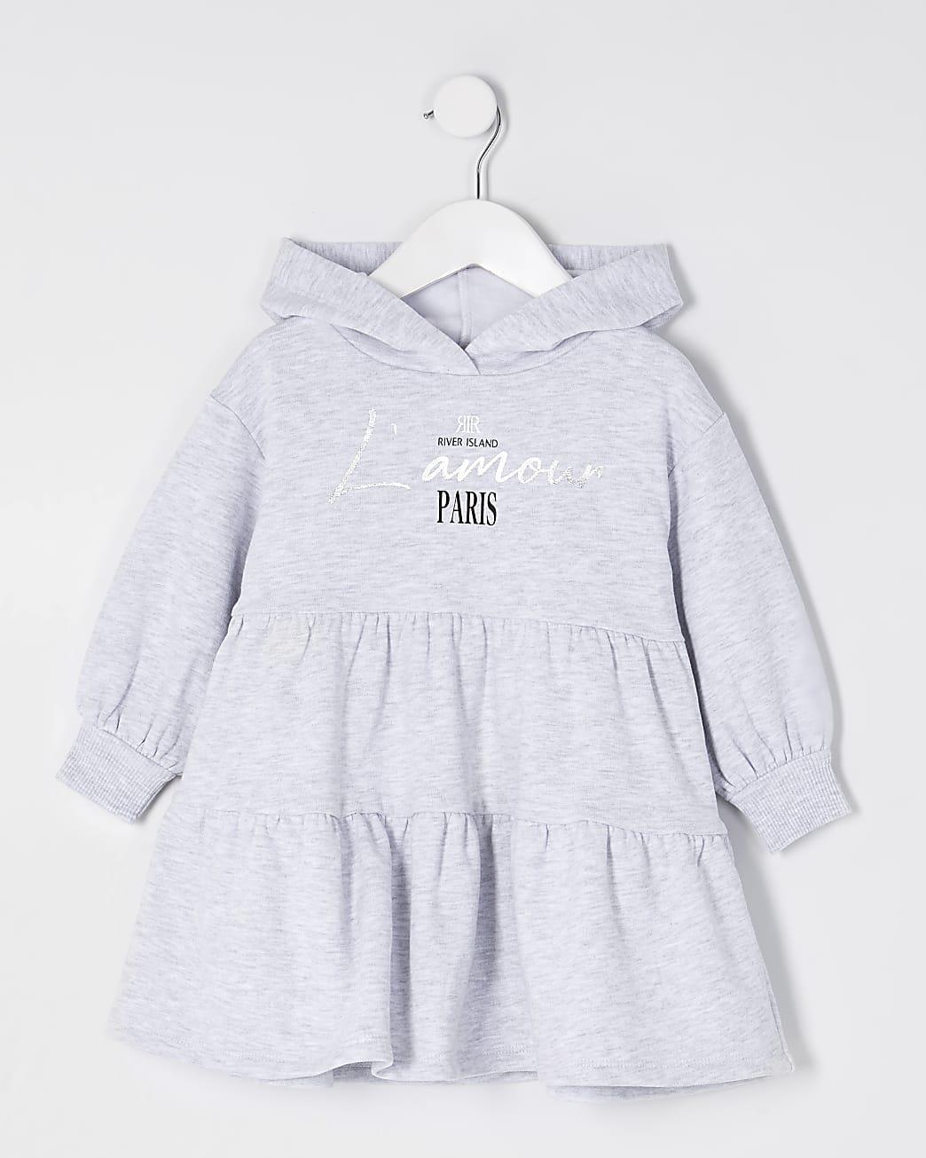 Mini girls grey hooded tiered sweat dress