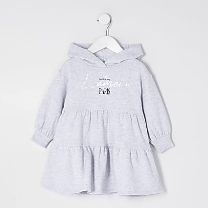 Mini girls grey hooded tiered sweat dress