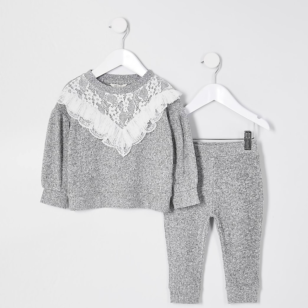 Mini girls grey lace frill cosy sweat outfit