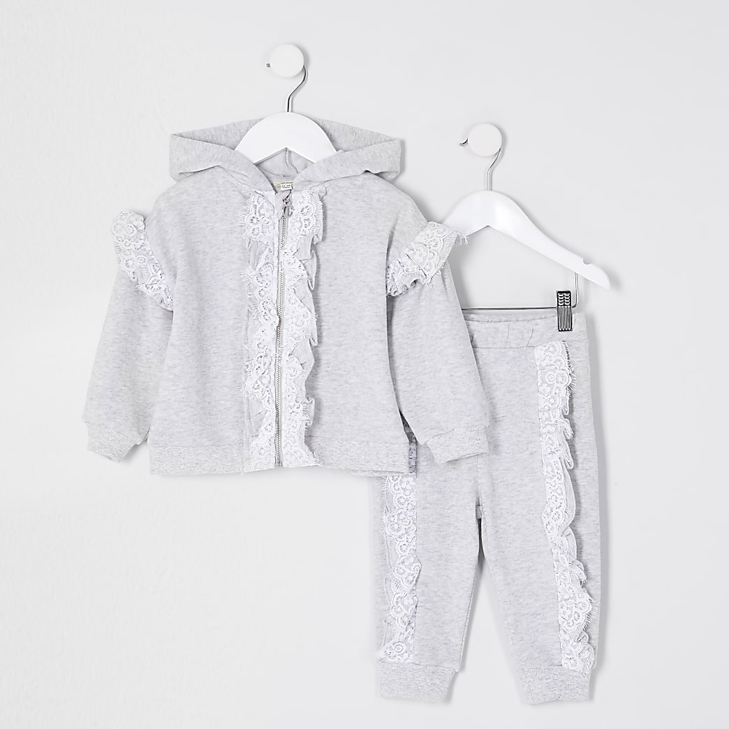 Mini girls grey lace frill sweat outfit