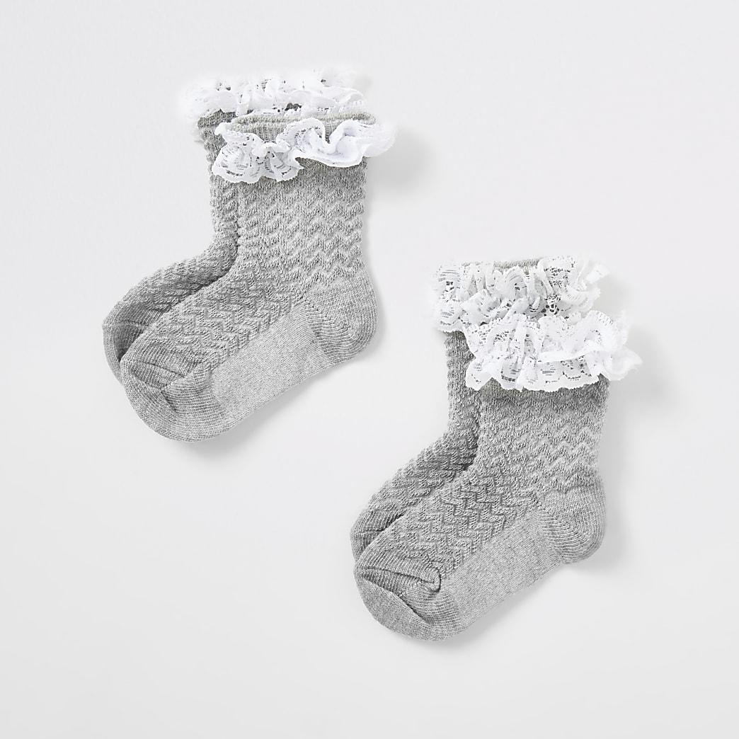 Mini girls grey lace socks 2 pack