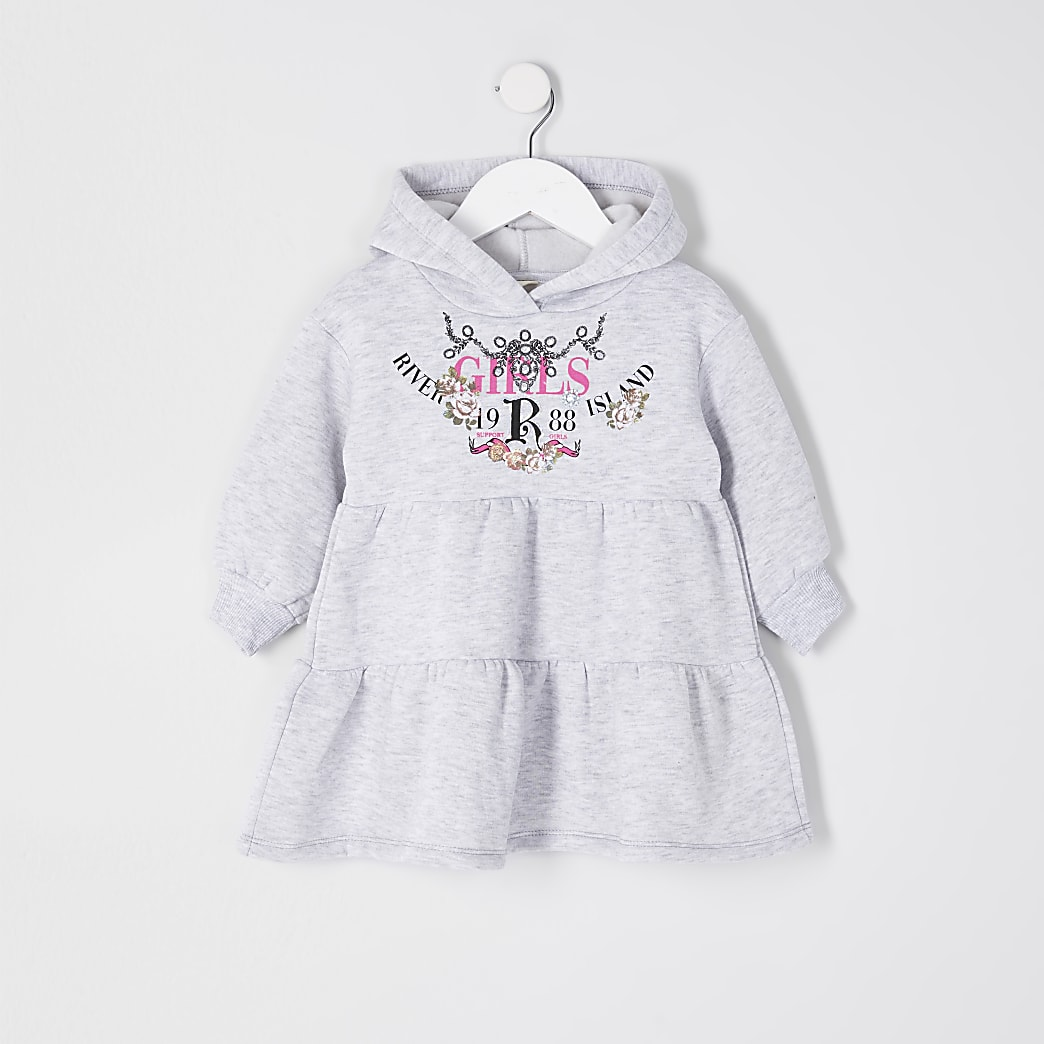 Mini girls grey lace tiered hoodie dress