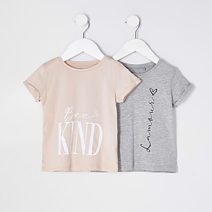 Mini girls grey 'Lamour' 2 pack t-shirts