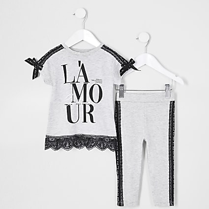 Mini girls grey 'Lamour' lace taped outfit