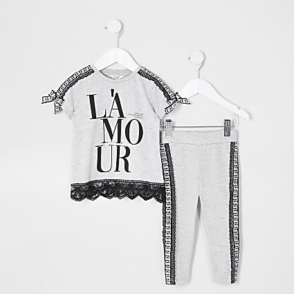 Mini girls grey 'L'amour' t-shirt legging set