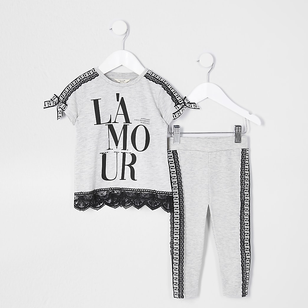 Mini girls grey 'L'amour' t-shirt outfit