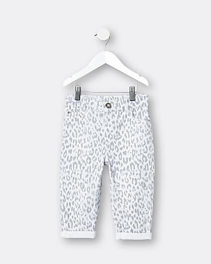 Mini girls grey leopard print mom jeans
