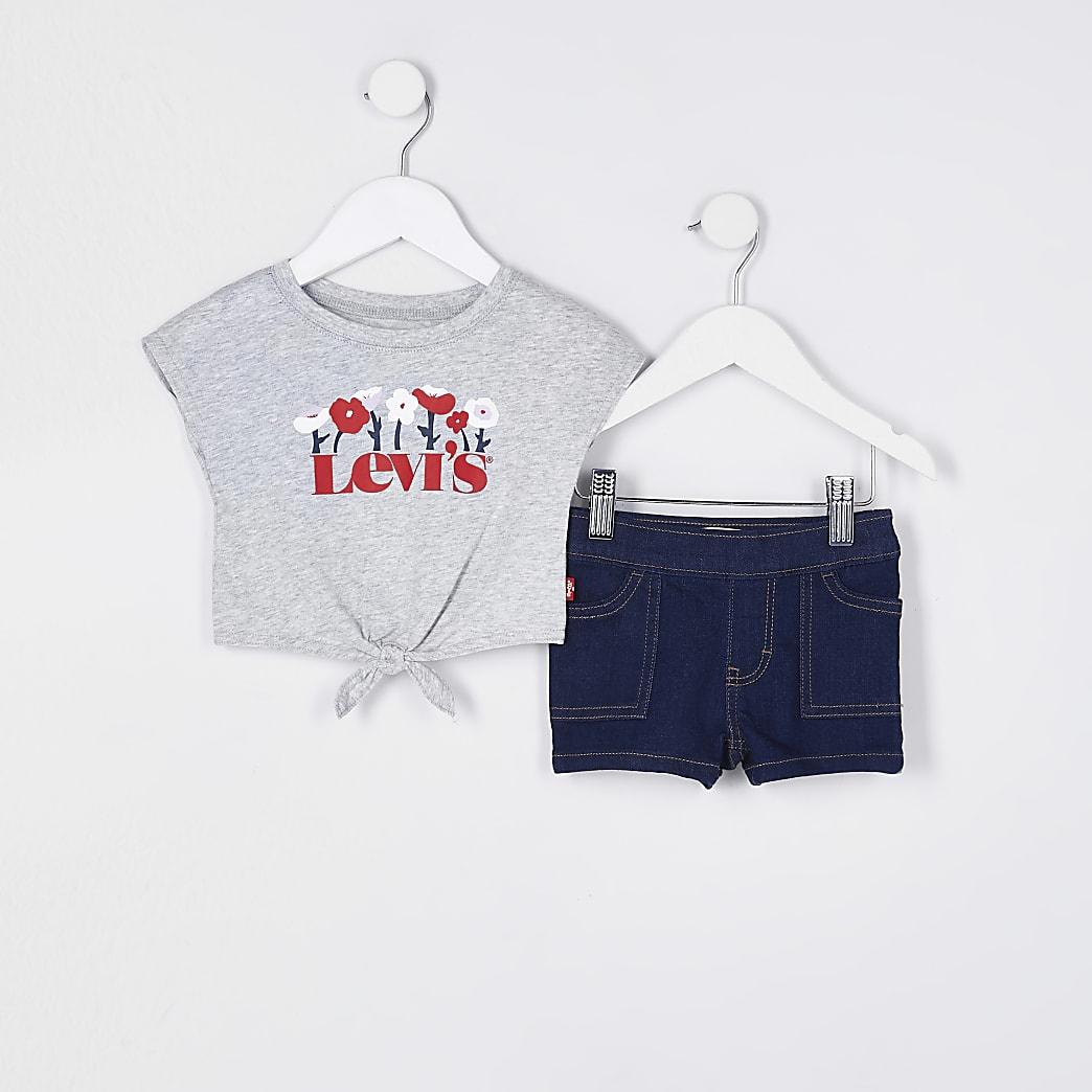 Mini girls grey Levi's denim shorts outfit