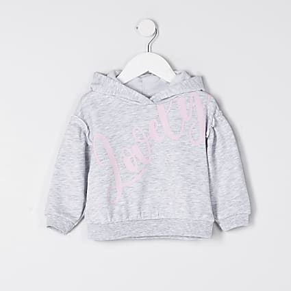 Mini girls grey 'Lovely' hoodie