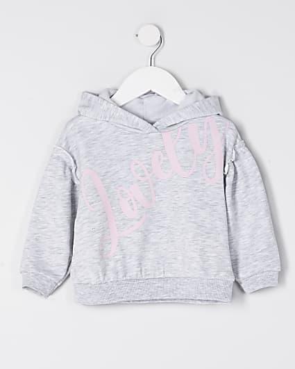 Mini girls grey 'Lovely' hoodie