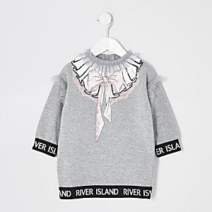 Mini– Graues Sweaterkleid mit Ärmeln aus Netzstoff für Mädchen
