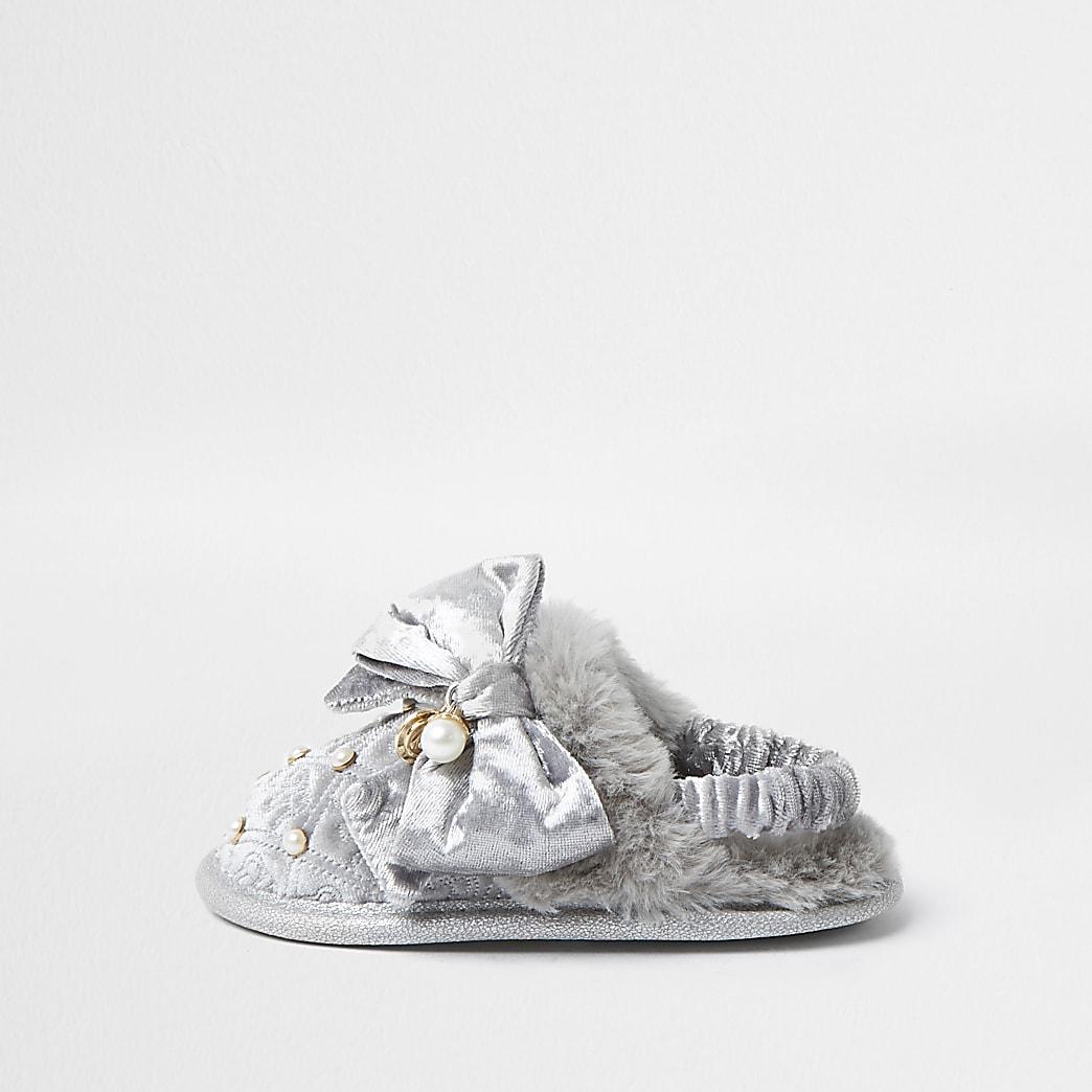 Mini girls grey monogram bow slippers