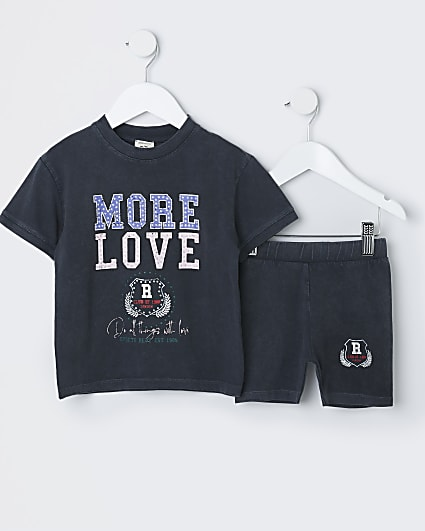 Mini girls grey 'More Love' t-shirt outfit
