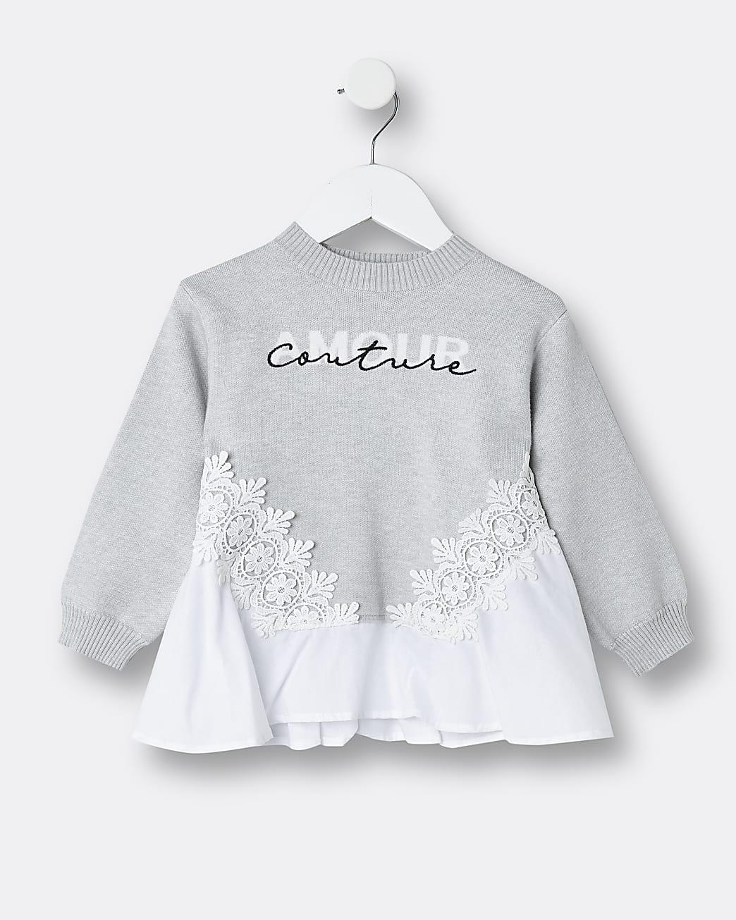 Mini girls grey poplin 'Amour Couture' jumper