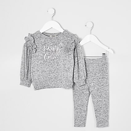 Mini girls grey 'pretty cute' cosy outfit