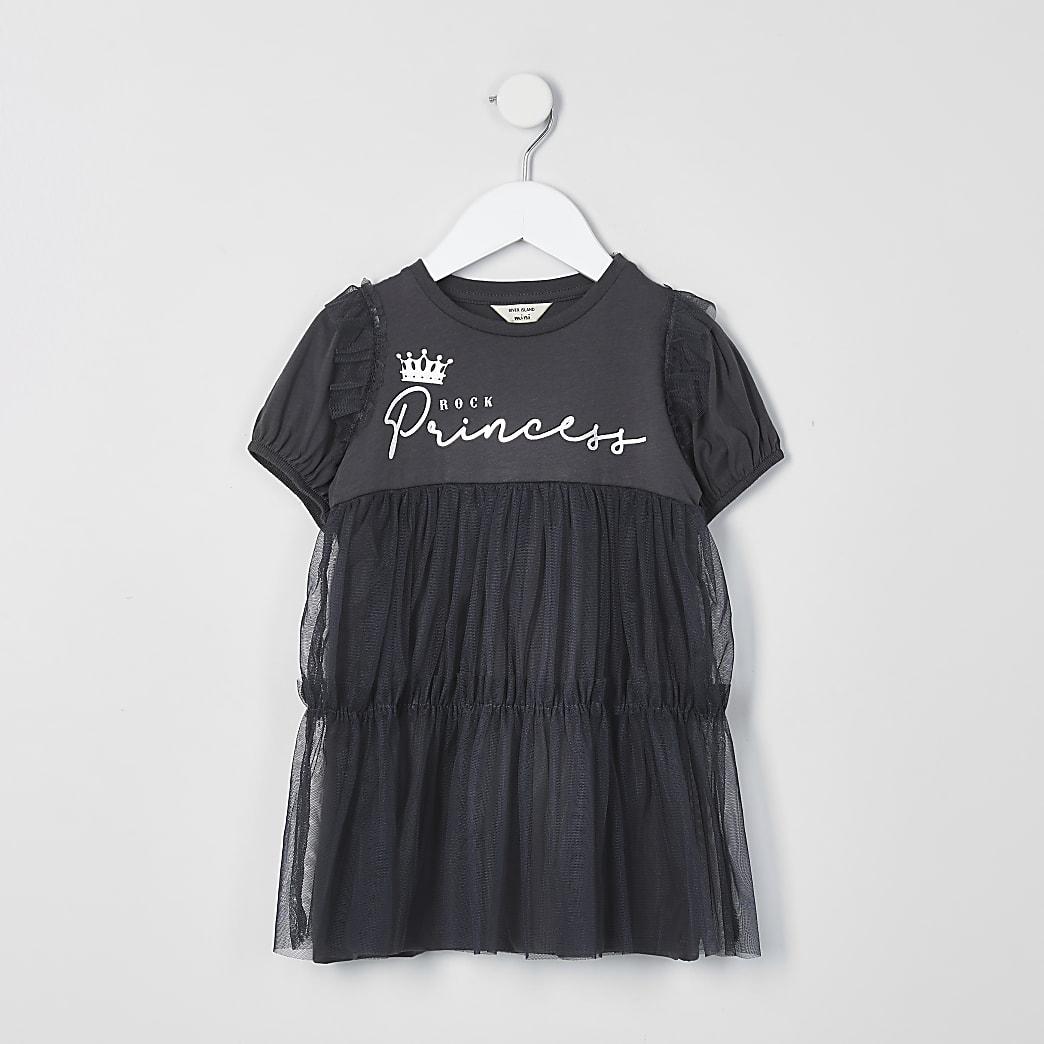 Mini girls grey princess mesh overlay dress