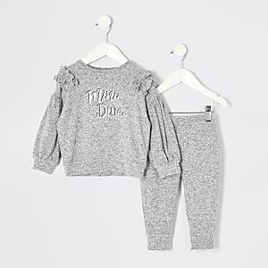 Mini - Grijze sweater outfit met ruches en print voor meisjes