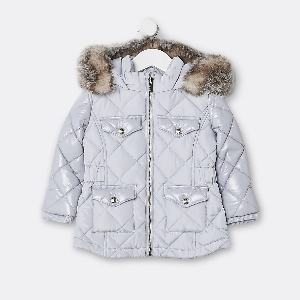 Mini girls grey quilted puffer coat