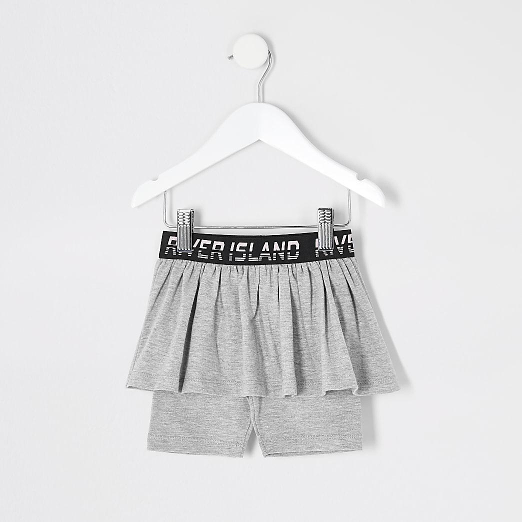 Mini - Grijze RI wielrenshort-rok voor meisjes