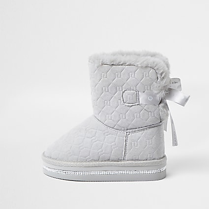 Mini girls grey RI monogram faux fur boots
