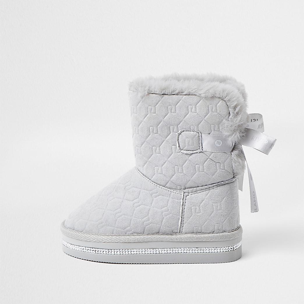 Mini girls grey RI monogram faux fur boots