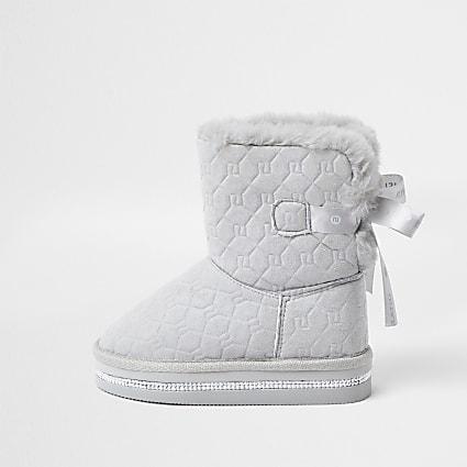 Mini girls grey RI monogram faux fur slippers