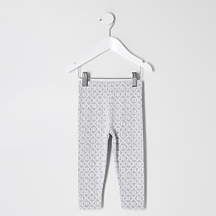 Mini girls grey RI monogram leggings