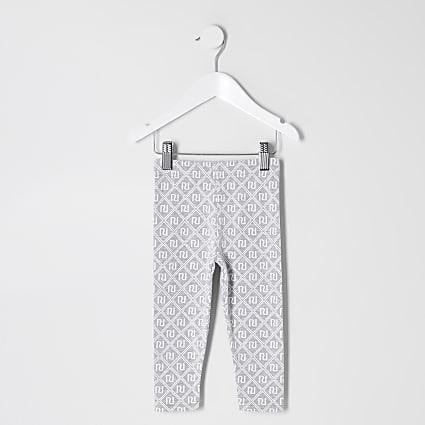 Mini girls grey RI monogram leggings