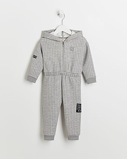 Mini girls grey RI quilted hood jumpsuit