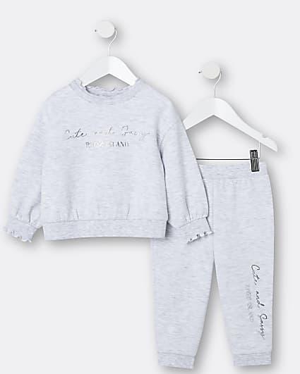 Mini girls grey RI sweatshirt and joggers set