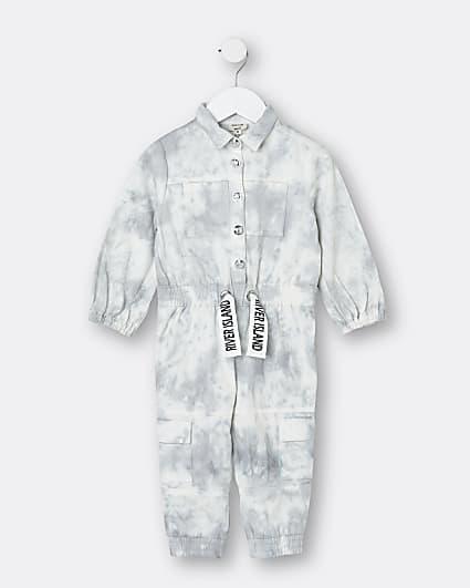 Mini girls grey RI tie dye denim jumpsuit