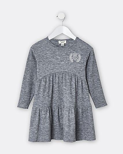Mini girls grey RR cosy smock tiered dress