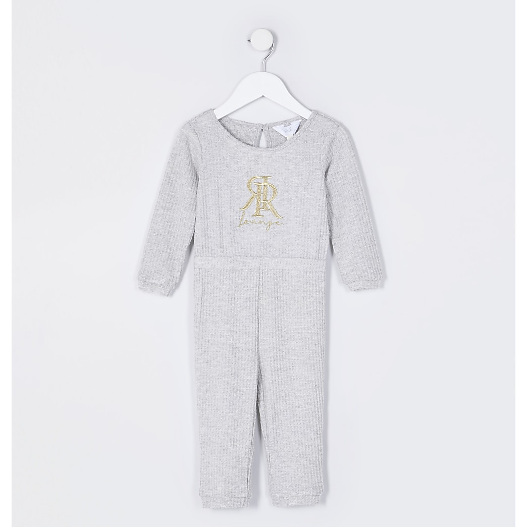 Mini girls grey RR embroidered waffle onesie