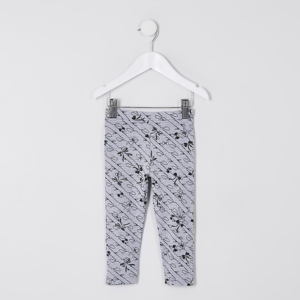 Mini girls grey ruffle bow print leggings