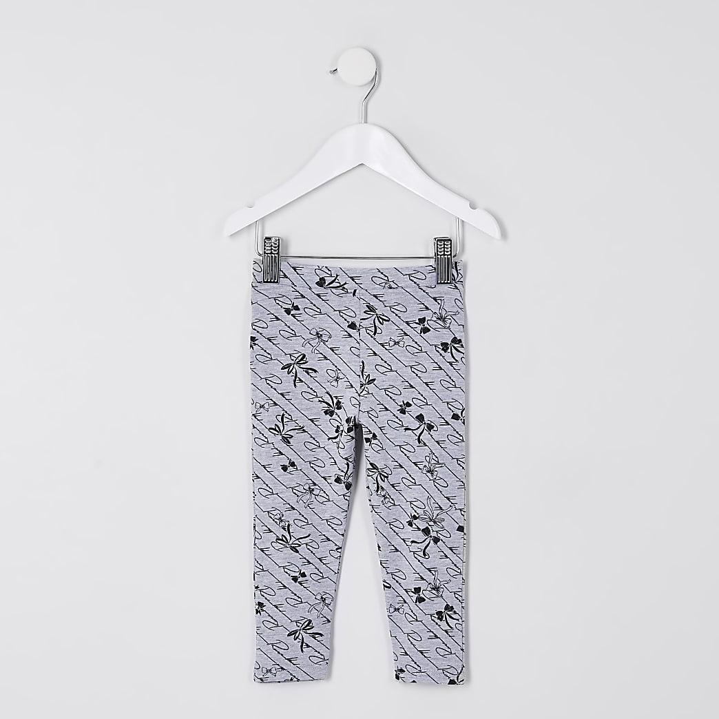 Mini girls grey ruffle bow print leggings