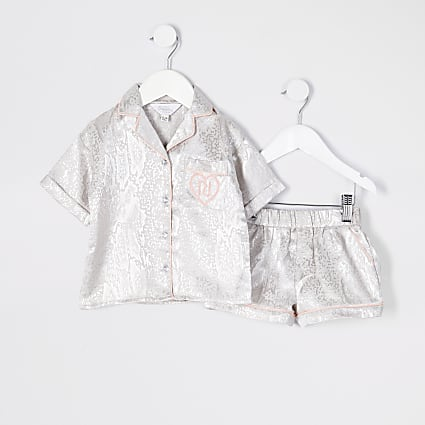 Mini girls grey satin snake print pjs