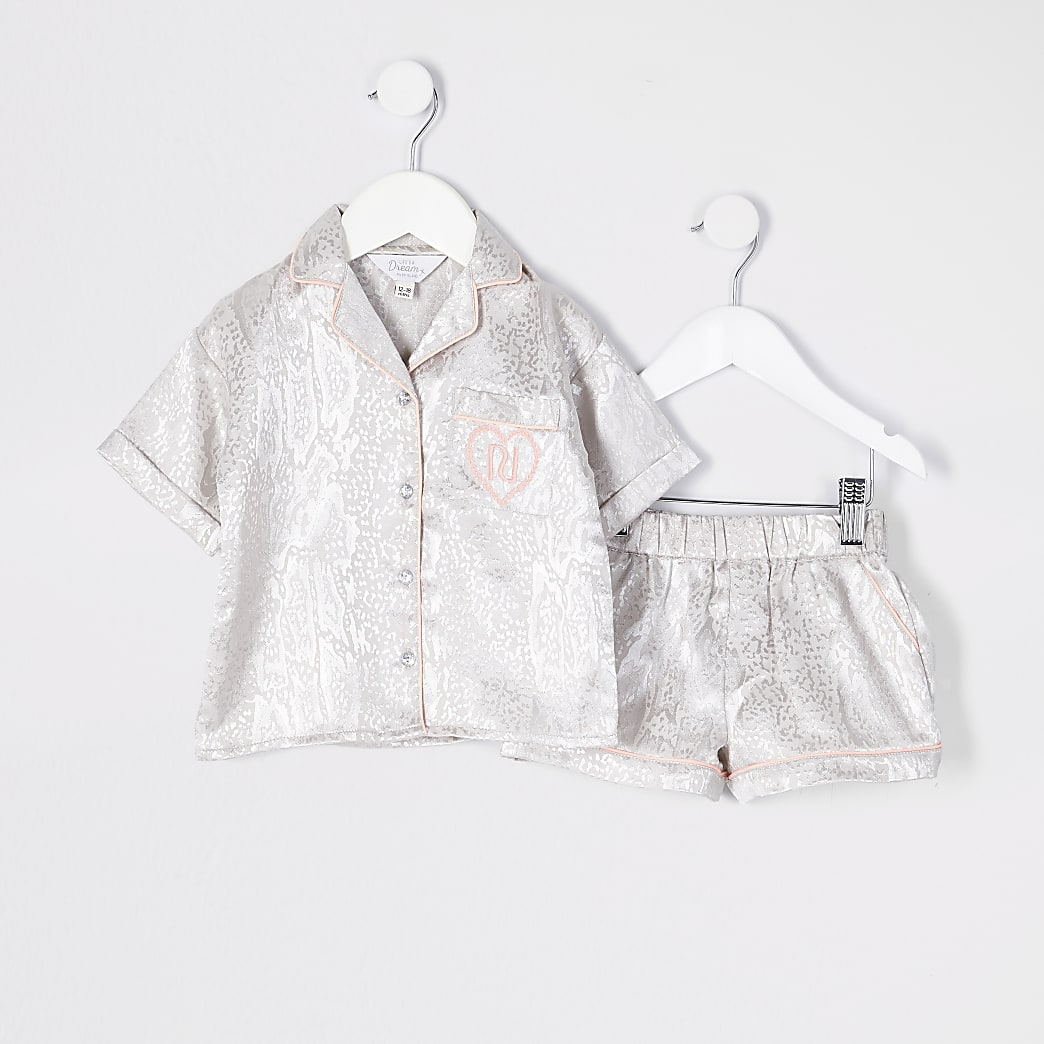 Mini girls grey satin snake print pyjamas